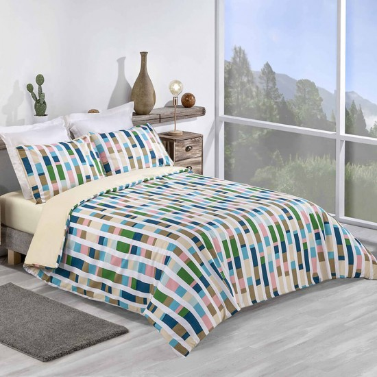 Super King Duvet cover with Pillowcases Colour Code design