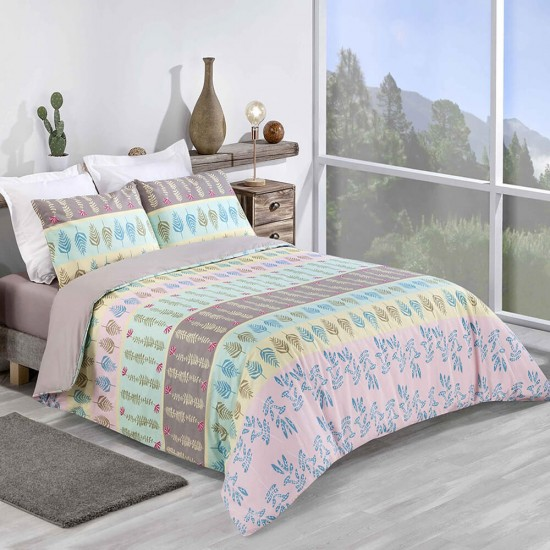 Double Bed Duvet Cover with Pillowcases Fern design