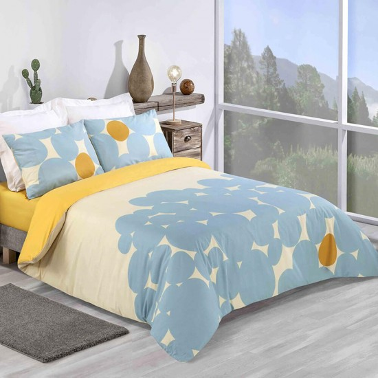 King size Duvet Cover with Pillowcases Bubble Sun design