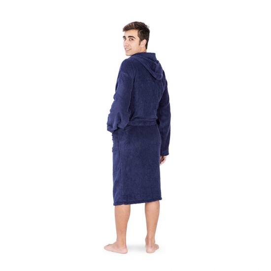 Unisex bathrobe in Navy Blue colour with 2 pockets