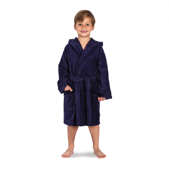 Kid's Velour Hooded bathrobe Navy Blue with pockets
