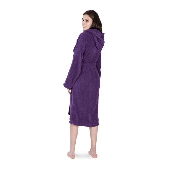 Unisex bathrobe in Purple colour with 2 pockets
