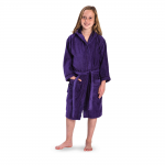 Kid's Velour Hooded bathrobe in Purple with 2 pockets