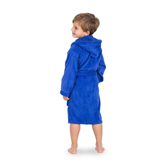 Kid's Velour Hooded bathrobe Royal Blue with 2 pockets