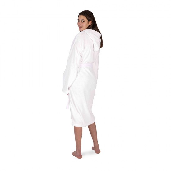 Unisex bathrobe in White colour with 2 pockets