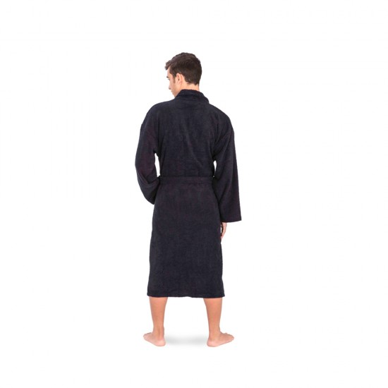 Unisex bathrobe in Black colour with 2 pockets