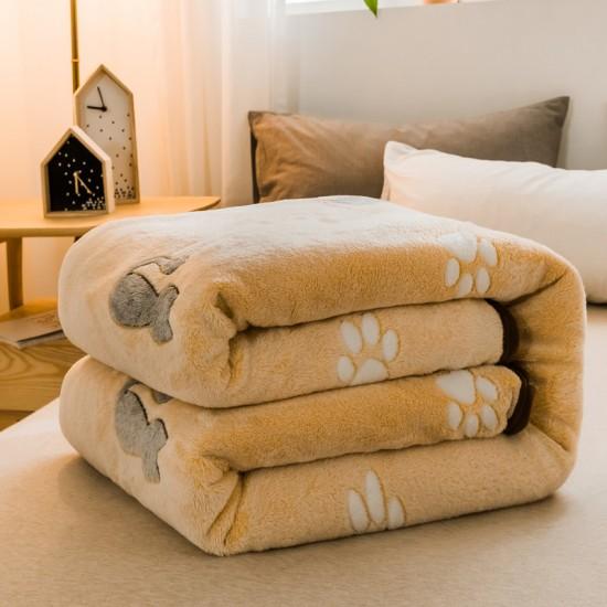Small Throw Blanket 135x200cm, Fleece in Yellow with Cat Art Work
