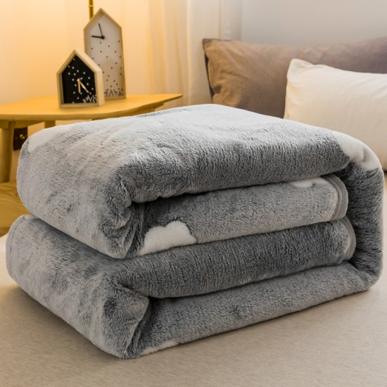 Small Throw Blanket 135x200cm, Fleece in Grey with Minimal Art