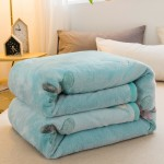 Small Throw Blanket 135x200cm, Fleece in Pastel Blue Minimal Art
