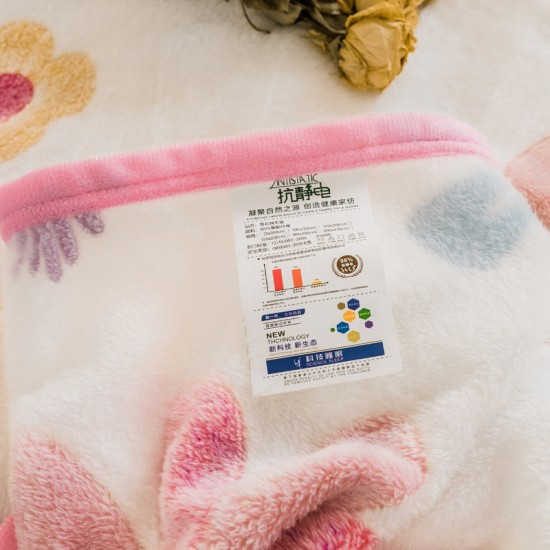 Small Throw Blanket 135x200cm, Fleece in White with Flowers All Over