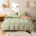 Minty Garden Cotton Duvet Cover king size with matching Pillowcases