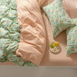 Minty Garden Cotton Duvet Cover Double with matching Pillowcases
