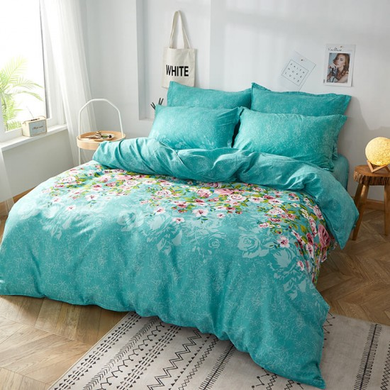 Rainy Rosen Cotton Duvet Cover king size with matching Pillowcases
