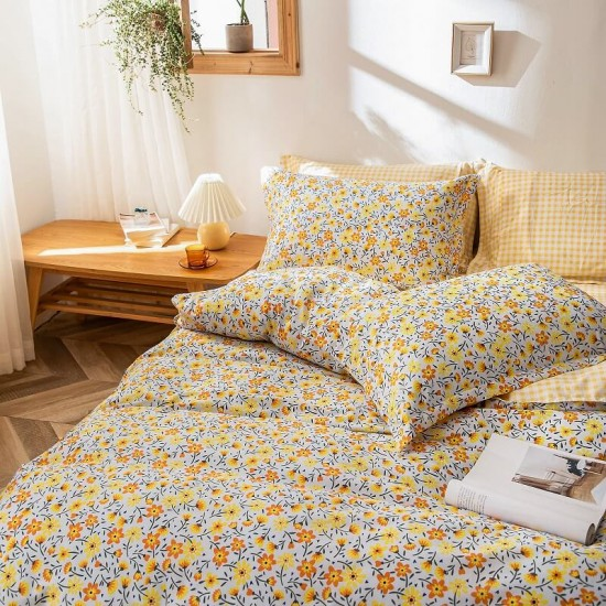 Yellow Flowers Cotton Duvet Cover king size with matching Pillowcases