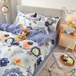 Blumen Garden Soft Polyester Fabric Duvet Cover with Pillowcases and Bedsheet