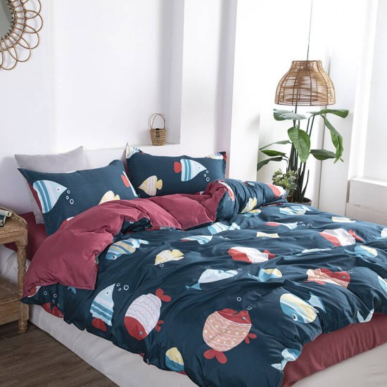 Deep Sea Soft Polyester Fabric Duvet Cover with Pillowcases and Bedsheet