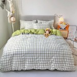 Joven Green Soft Polyester Fabric Duvet Cover with Pillowcases and Bedsheet