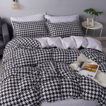 B&W Muster Soft Polyester Fabric Duvet Cover with Pillowcases and Bedsheet