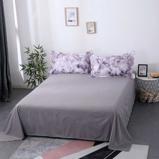 Purple Smoke Soft Polyester Fabric Duvet Cover with Pillowcases and Bedsheet