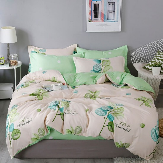 Sweet Mint Soft Polyester Fabric Duvet Cover with Pillowcases and Bedsheet