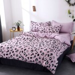 Tea Pink Soft Polyester Fabric Duvet Cover with Pillowcases and Bedsheet
