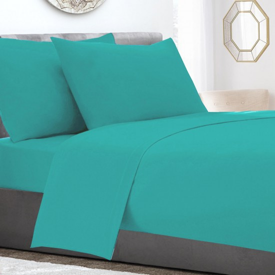 Aqua Poly Cotton extra deep king size Fitted Sheet