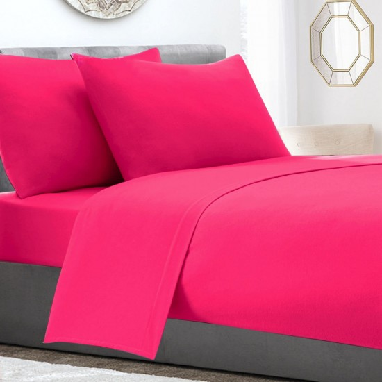 Poly Cotton extra deep king size Fitted Sheet Fuchsia Colour