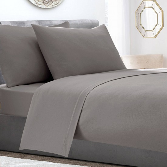 Grey Colour Deep Fitted Sheet Double Bed