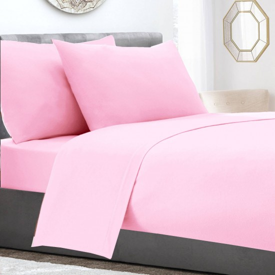 Pink Poly Cotton extra deep king size Fitted Sheet