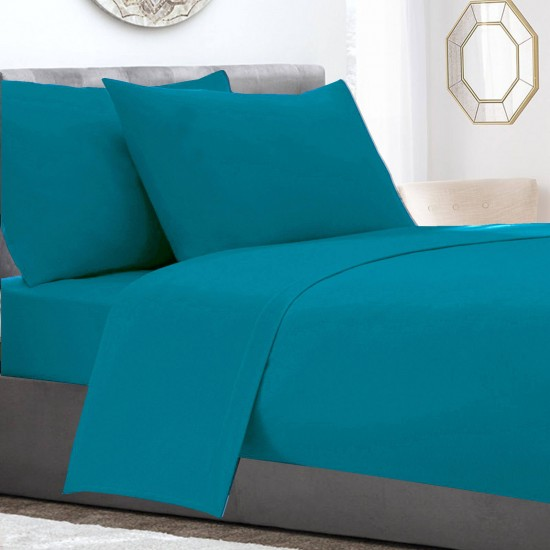 Teal colour Poly Cotton extra deep single bed Fitted Sheet