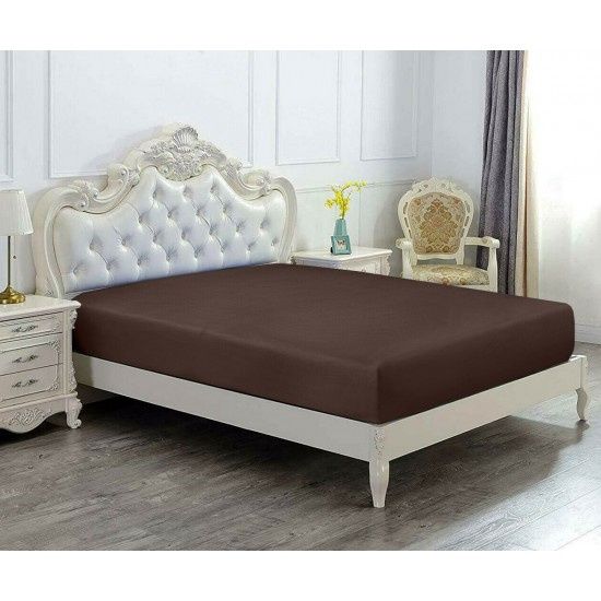 Super King Size Microfabric Fitted Sheet, Dark Brown 182x200cm + 40cm deep