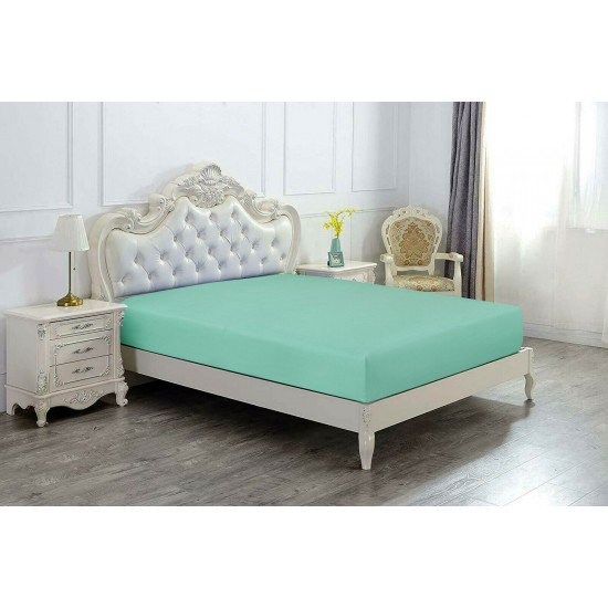 Super King Size Microfabric Fitted Sheet, Sage Green 182x200cm + 40cm deep
