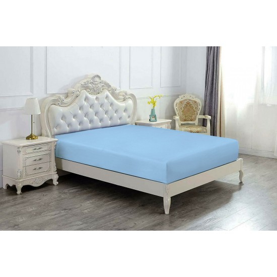 Super King Size Microfabric Fitted Sheet, Steel Blue 182x200cm + 40cm deep