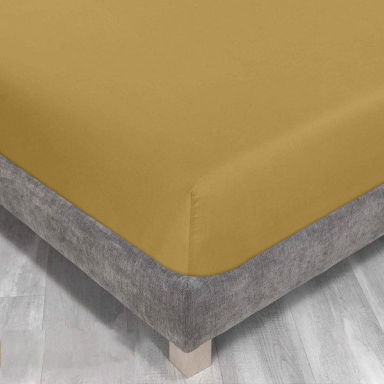 Queen size bed Fitted Sheet in Yolk Yellow