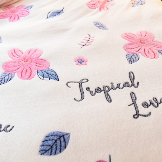 Tropical Love Duvet Cover with matching Pillowcases Soft Fleece - Double Size