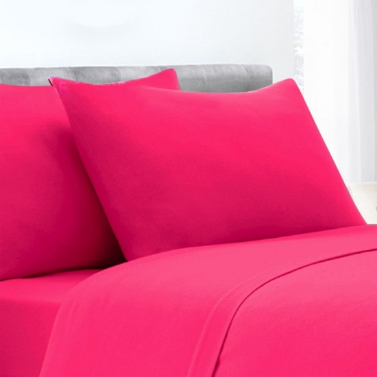 Fuchsia Poly Cotton Set of 2 Pillowcases