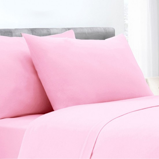 Pink Colour Poly Cotton Set of 2 Pillowcases