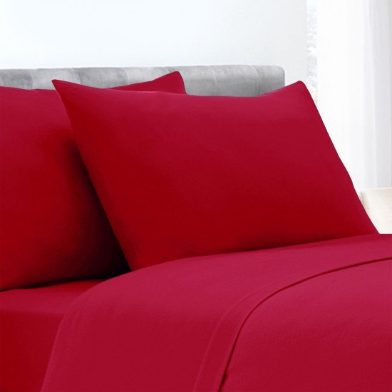 Red Colour Poly Cotton Set of 2 Pillowcases