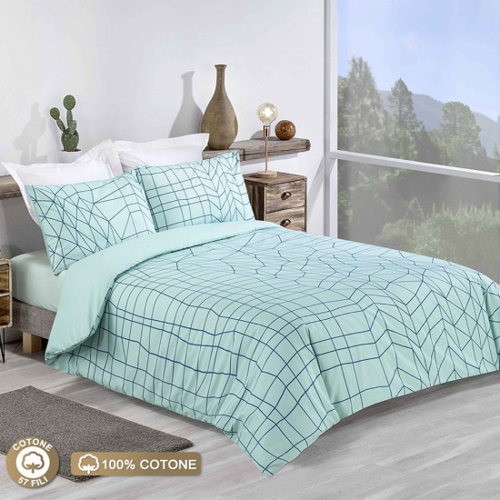 Double Bed Duvet Cover with Pillowcases Geometric