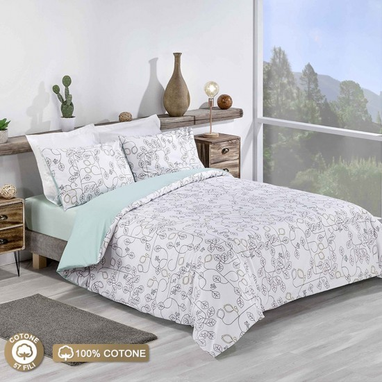 Double Bed Duvet Cover with Pillowcases Leaf Maze