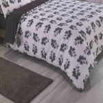 Double Bed Duvet Cover with Pillowcases Monochrome Leaf
