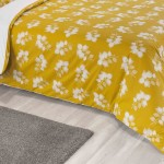 Double Bed Duvet Cover with Pillowcases Saffron Leaf
