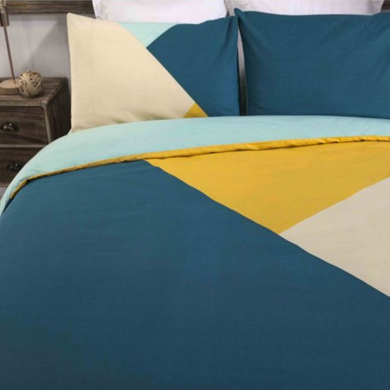 King size bed Duvet Cover with Pillowcases Triangles Design