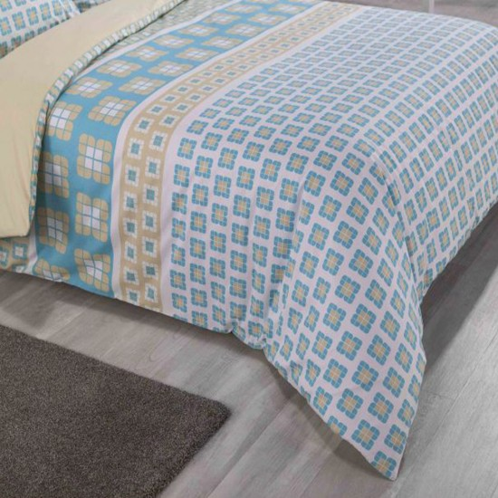 Double Bed Duvet Cover with Pillowcases Vintage Tile
