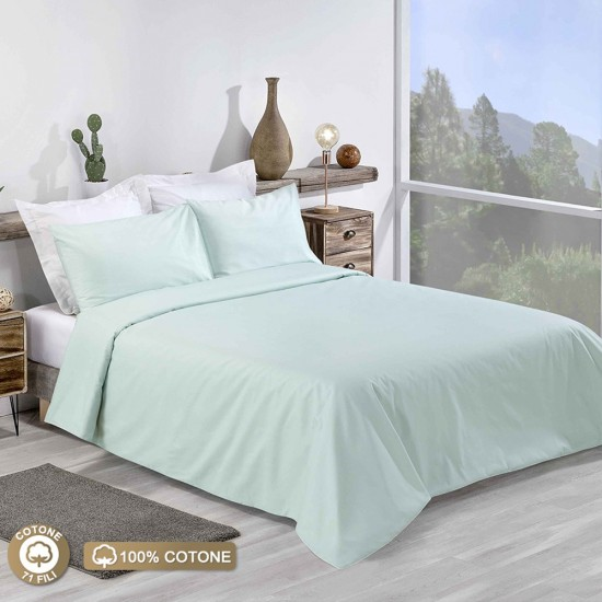 Double Bed Premium Duvet Cover with Pillowcases Mint Colour