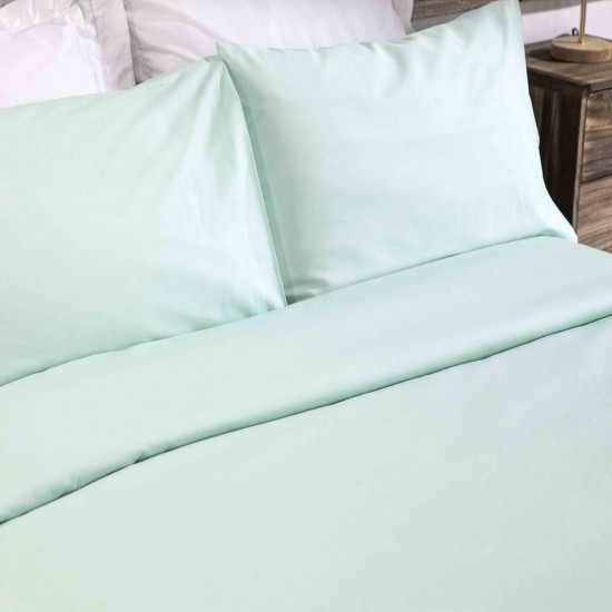 King size Premium Duvet Cover with Pillowcases Pale Mint