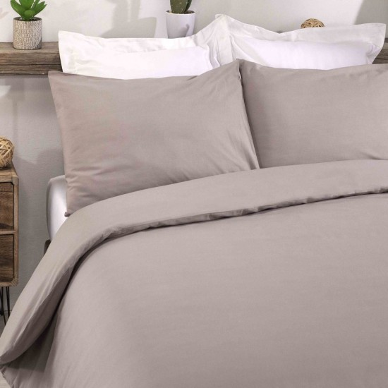 Double Bed Premium Duvet Cover with Pillowcases Light Mocha