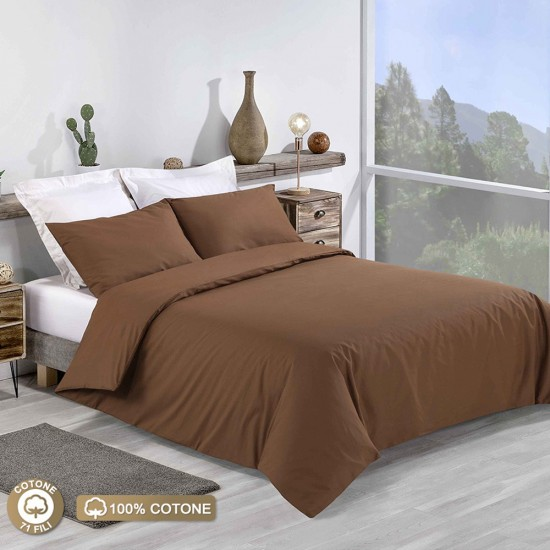 King size Premium Duvet Cover with Pillowcases in Chocolate colour