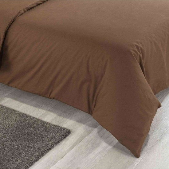 Double Bed Premium Duvet Cover with Pillowcases Chocolate colour