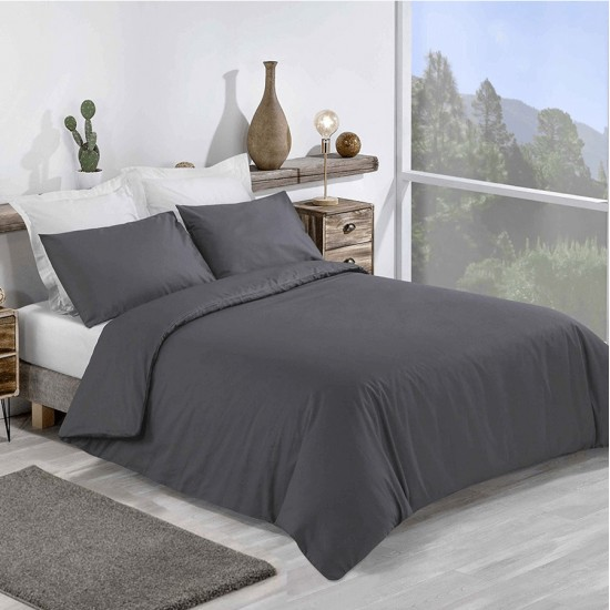 King size Premium Duvet Cover with Pillowcases Charcoal Grey